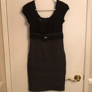 Black pinstriped bodycon dress